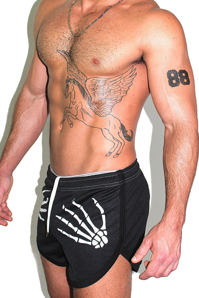 Skeleton Running Shorts- Black