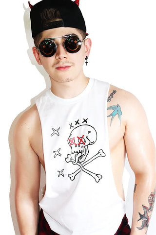 Logo Wishlist Low Arm Tank-White