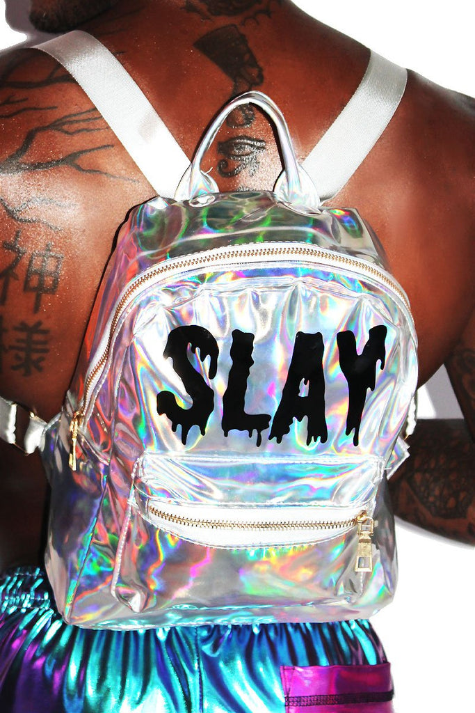 SLAY Holographic Backpack-Silver