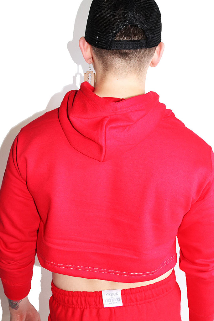 Slay Checkerboard Crop Hoodie-Red