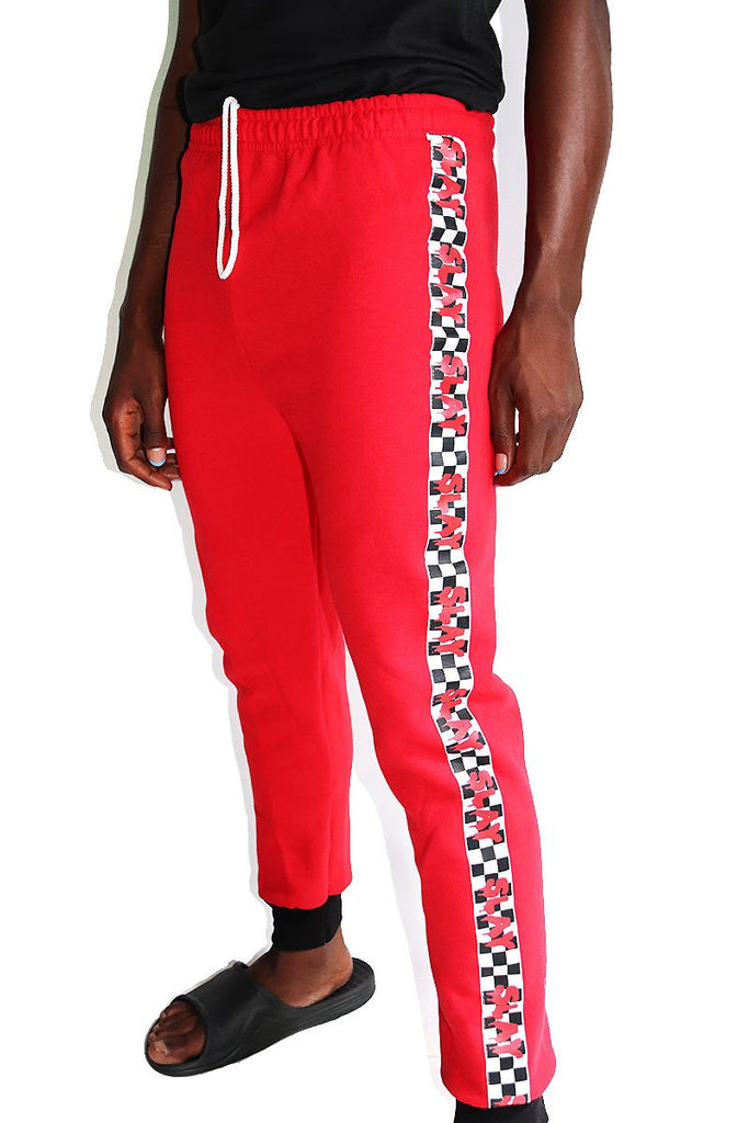 Slay Checkerboard Sweatpants-Red