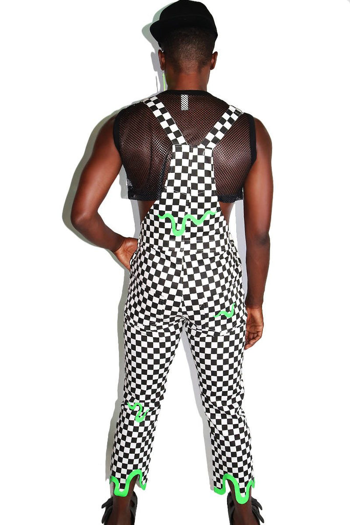Slime Checkerboard Overalls-White
