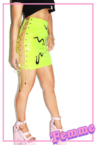 Toxic Goo Lace-up Vinyl Skirt-Green