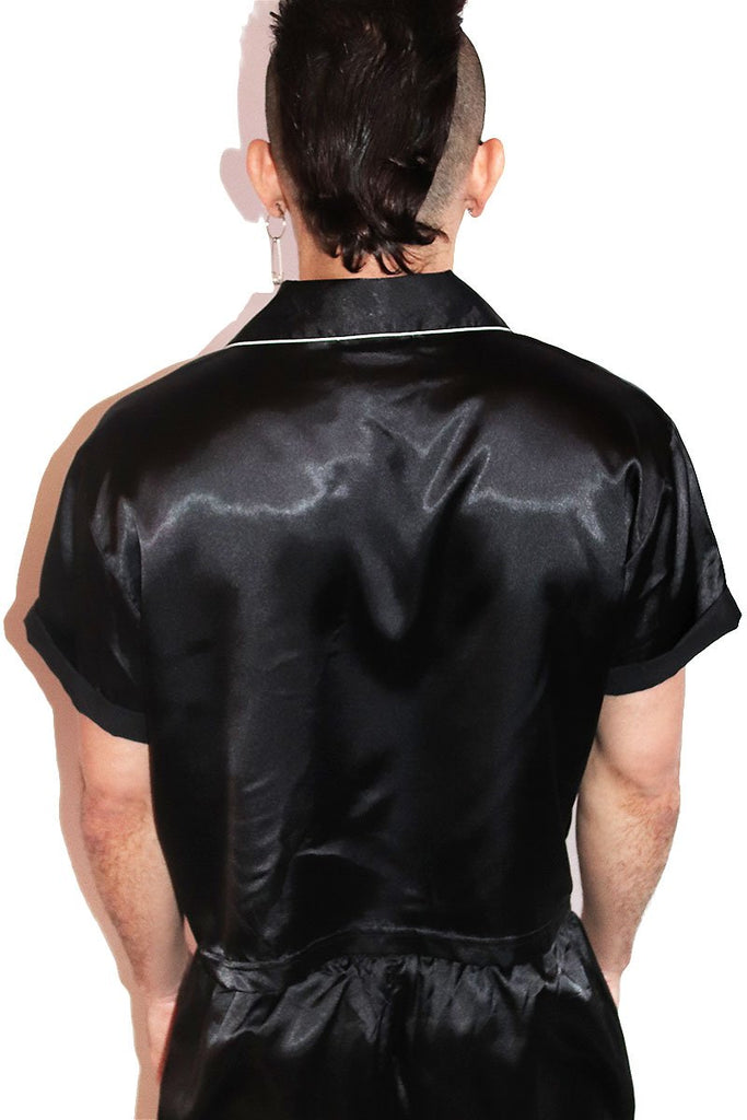 Slut Satin Crop Shirt- Black