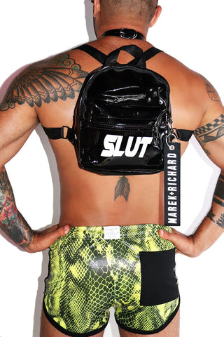 Slut Mini Vinyl Backpack-Black