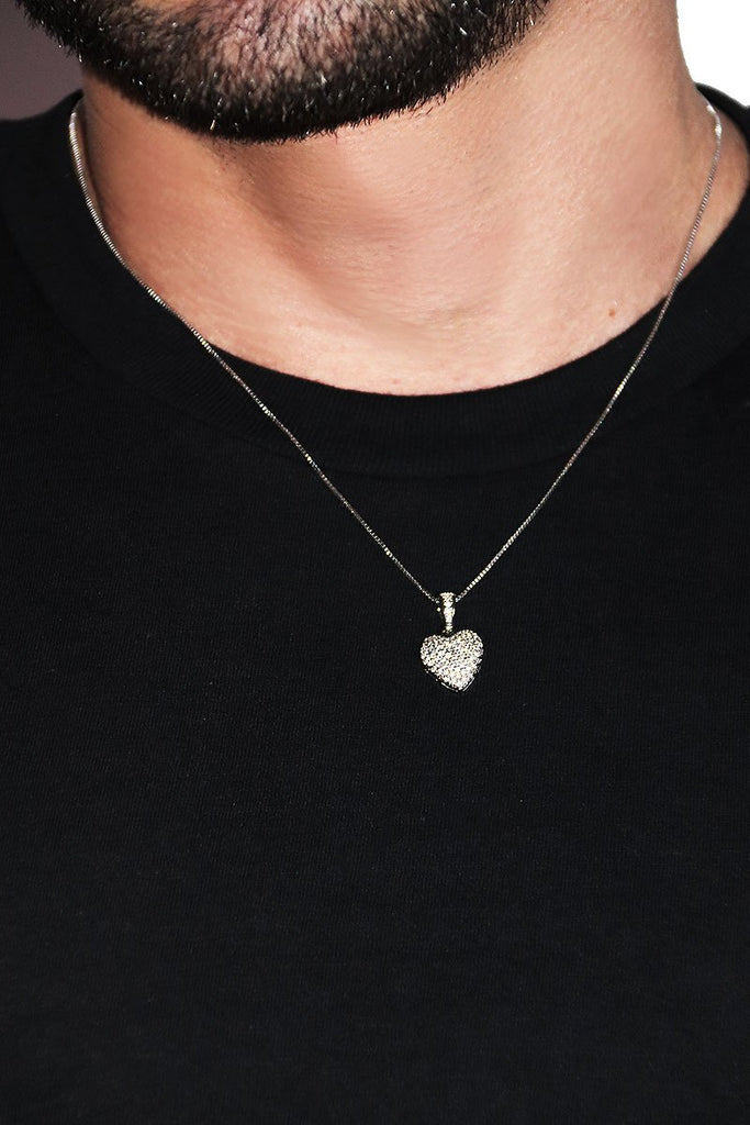 Heart Faux Lockit Necklace - Silver