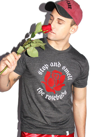 Smell The Rosebuds Tee-Dark Charcoal