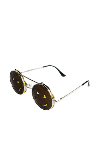 Smile Boston Rim Flip Up Sunglasses-Yellow