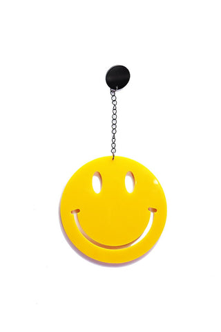 Happy Face Chain Single Earring- Yellow