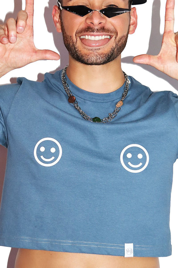 Smile Pasties Crop Tee-Blue