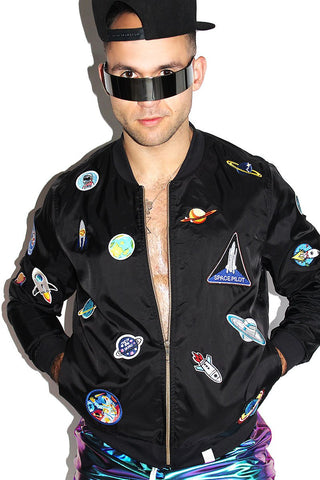 Space Pilot Bomber Jacket-Black