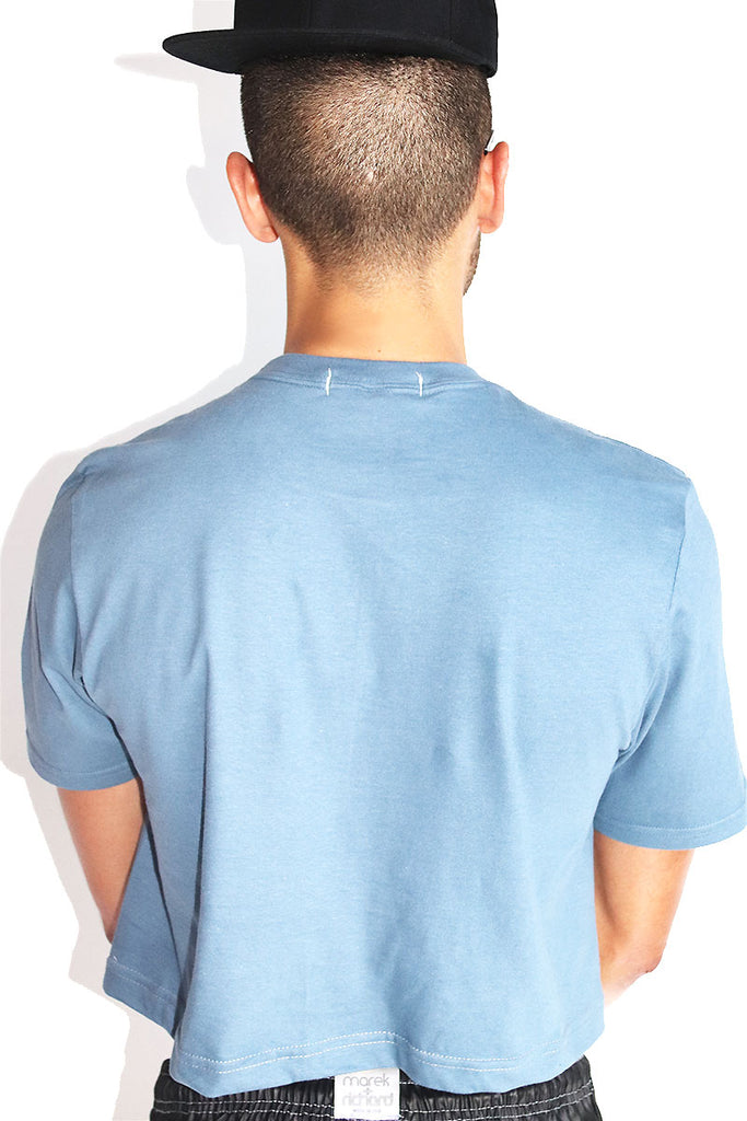 Sperm Bank Crop Tee-Blue