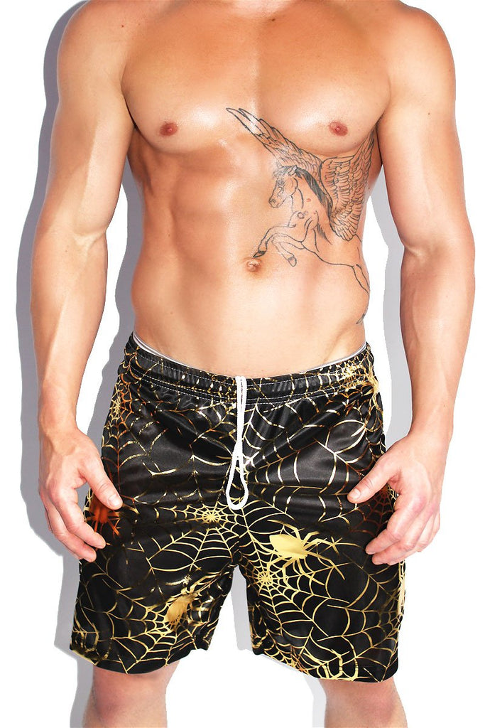 Spider Web Long Shorts-Black