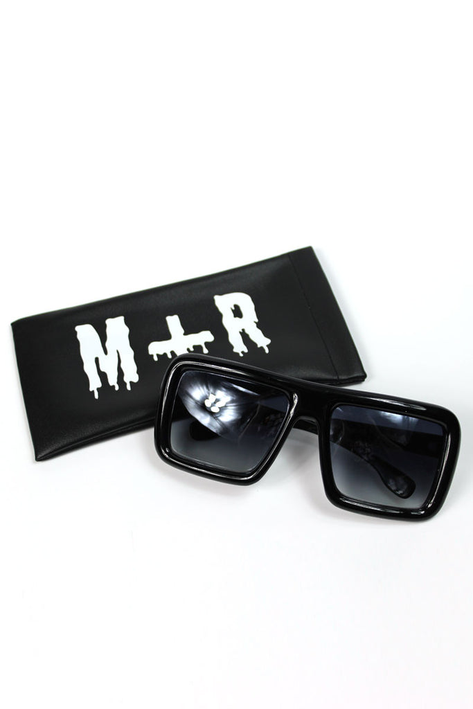 Square Oversized Large Sunglasses- Black