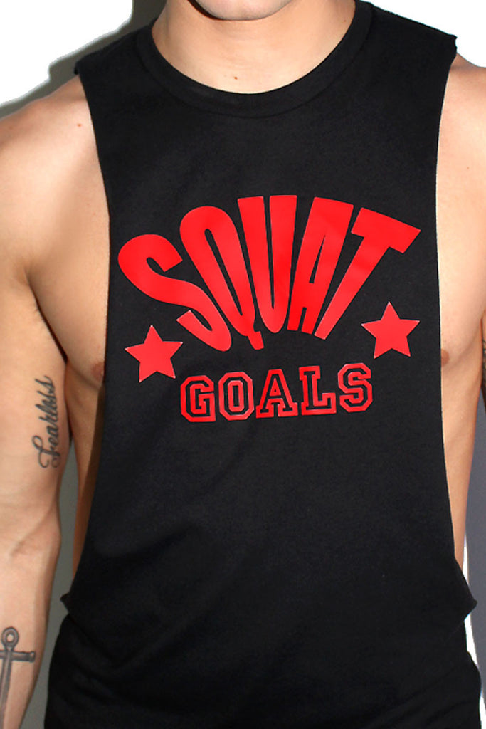 Squat Goals Low Arm Tank- Black