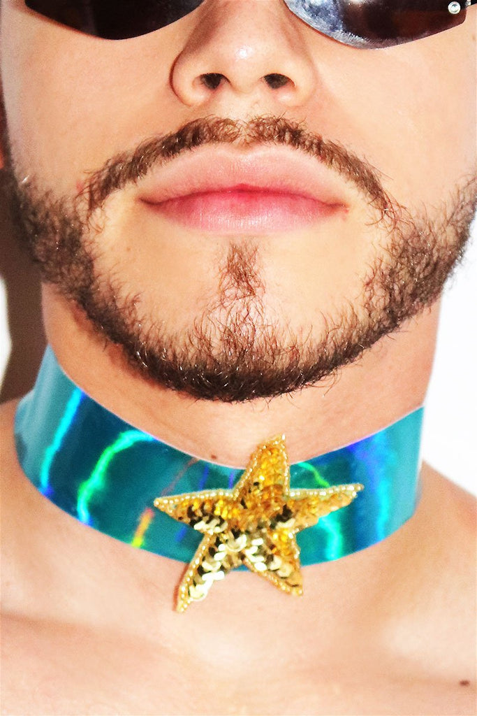 Star Thick Vinyl Holographic Choker-Blue