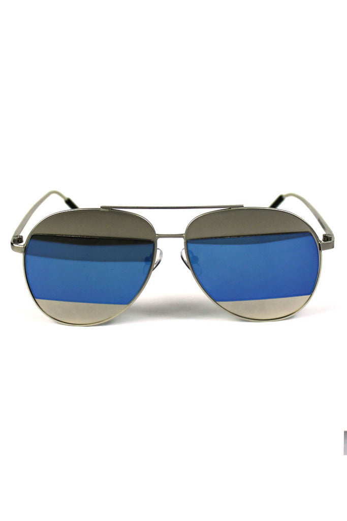 Silver Rim Grey Striped Aviator Sunglasses-Blue