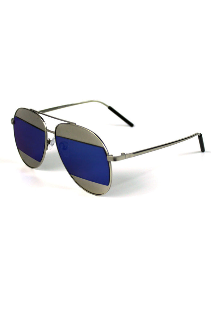 Silver Rim Striped Aviator Sunglasses-Blue