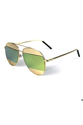 Gold Rim Striped Aviator Sunglasses-Green