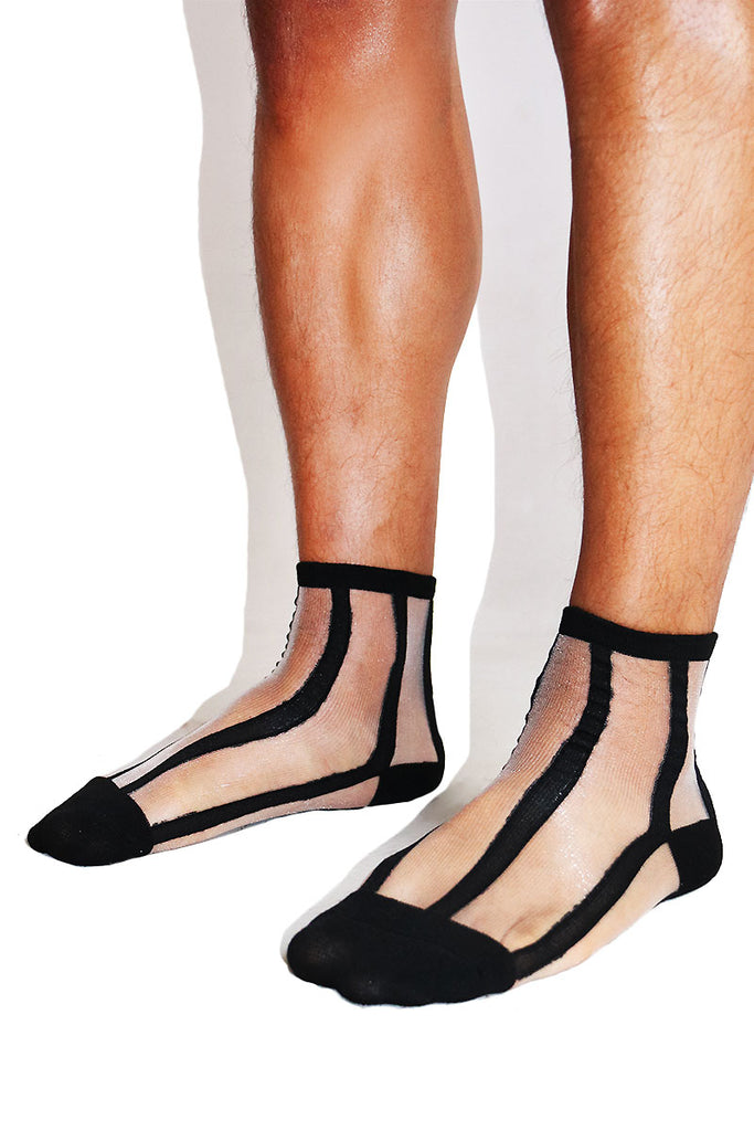 Stripe Mesh Socks-Black