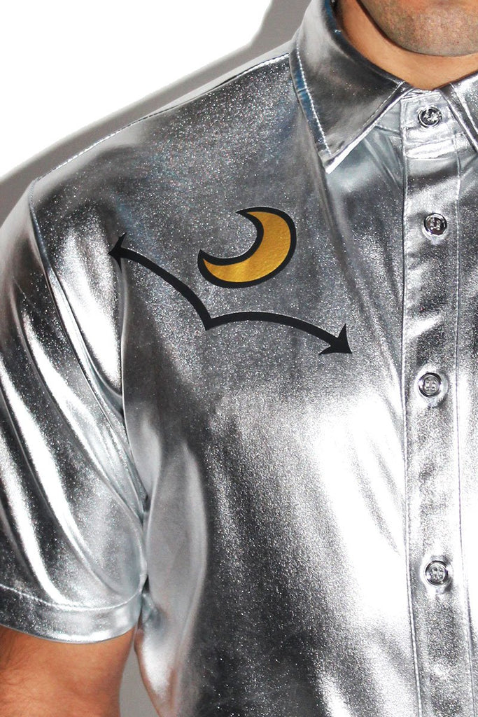 Stud Metallic Shirt - Silver