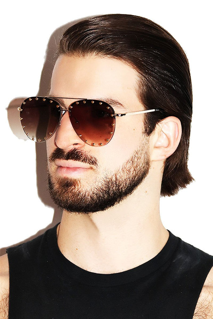 Studded Aviator Sunglasses-Black