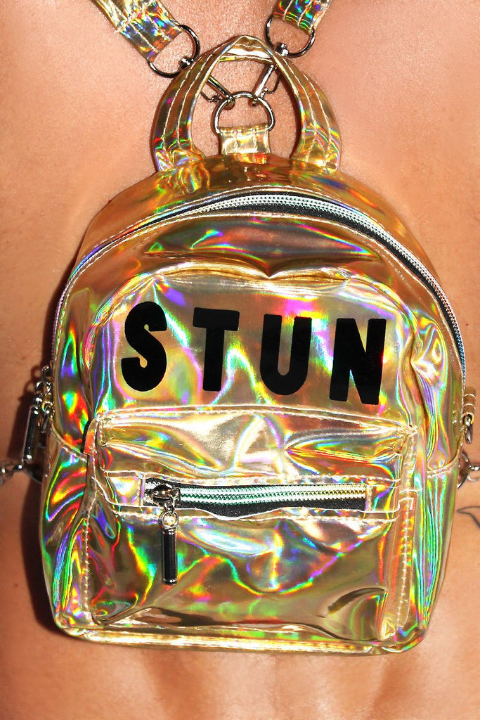 Stun Holographic Mini Backpack-Gold