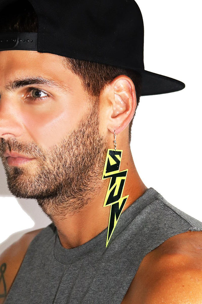 Stun Lightning Bolt Single Earring-Neon Yellow