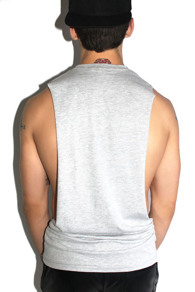 Single as Fuck Low Arm Tank- Grey