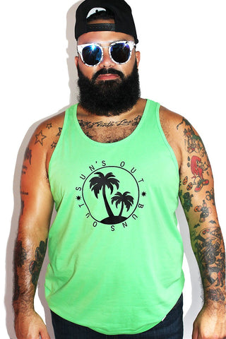 PLUS: Sun Out Buns Out Racerback Tank-Neon Green