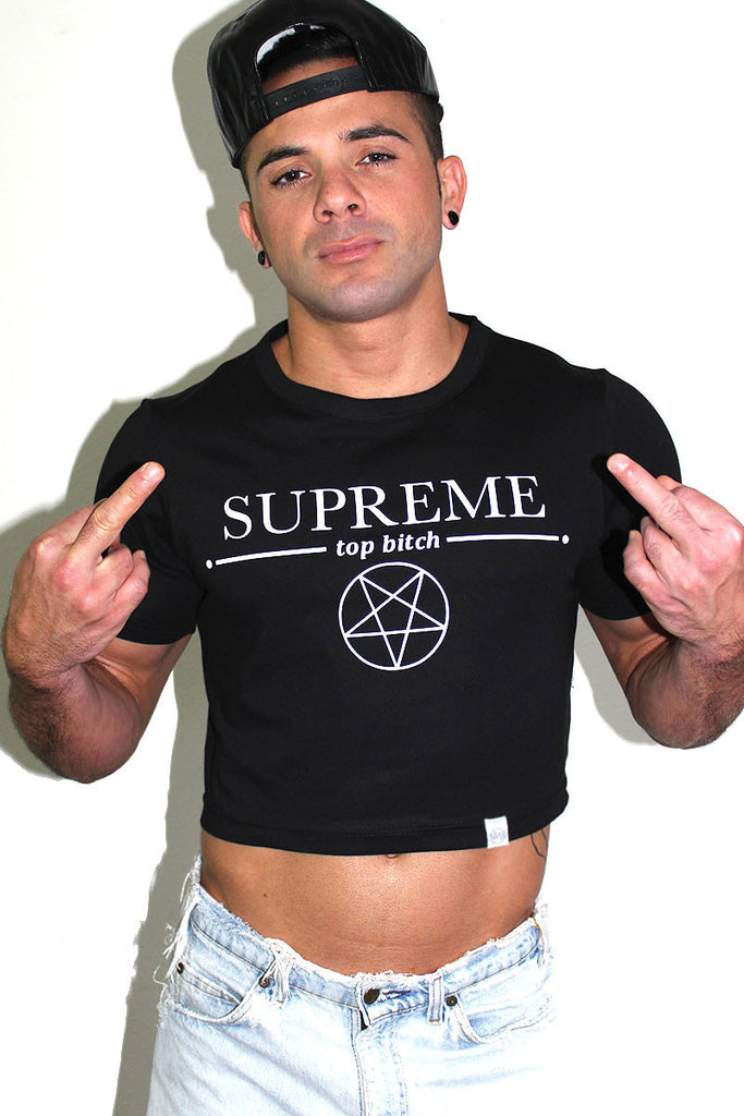 Supreme Top Bitch Crop Tee- Black