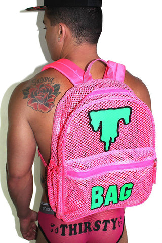 T- Bag Mesh Backpack- Pink