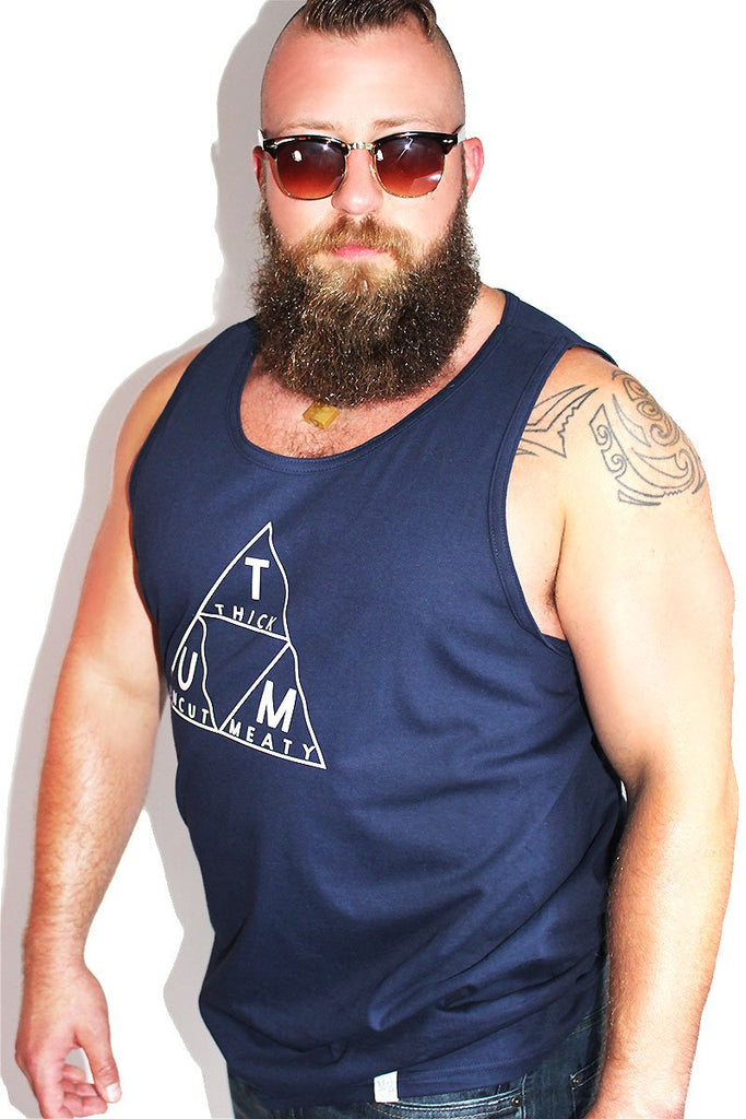 PLUS: Thick Uncut Meaty Racerback Tank- Navy