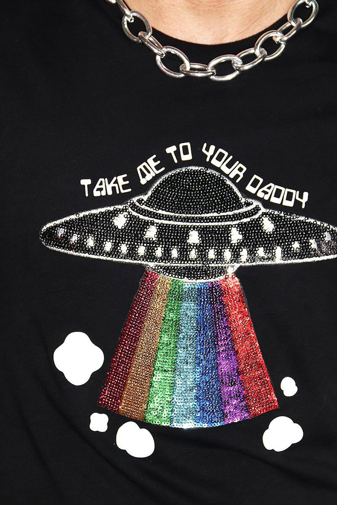 Take Me To Your Daddy Tee-Black