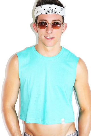 Wide Open Waters Crop Racerback Tank- Light Blue