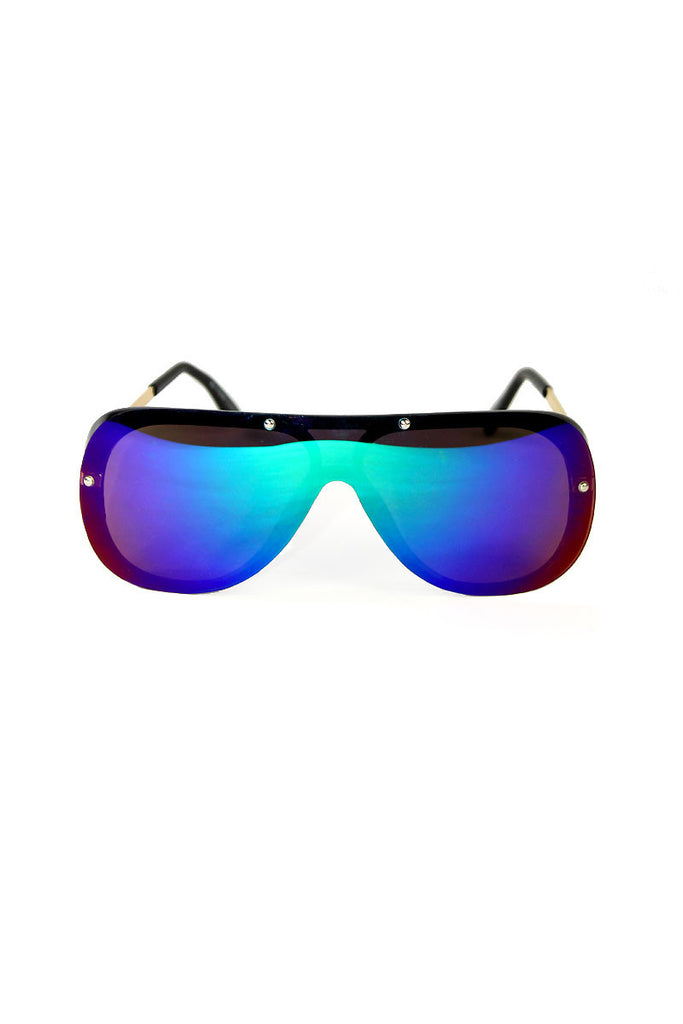 Shield Teardrop Sunglasses-Blue