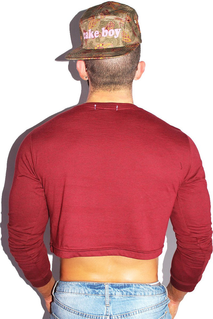Thanks Living Long Sleeve Crop Tee-Burgandy