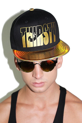Thirsty Holographic Snap Back- Gold