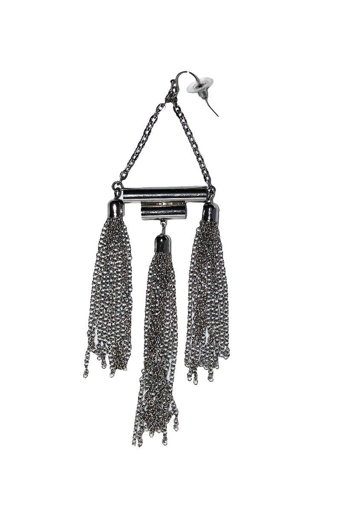 Metallic Triple Tassel Single Earring-Silver