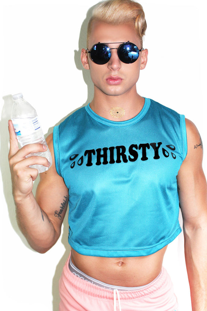 Thirsty Crop Tank- Turquoise