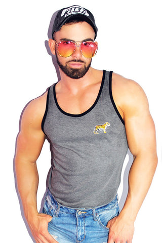 Tiger Eye Racerback Tank- Medium Charcoal