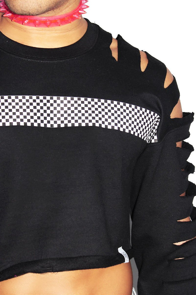 Checkerboard Crop Slash Long Sleeve Sweatshirt-Black