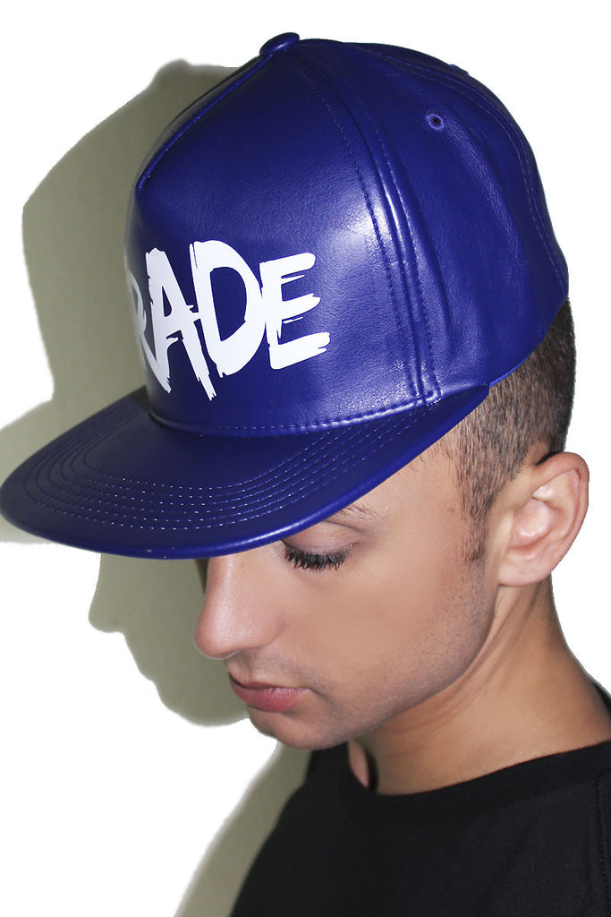 Trade Vegan Leather Snap Back Hat-Blue