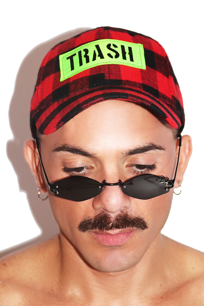 Trash Plaid Dad Hat- Red