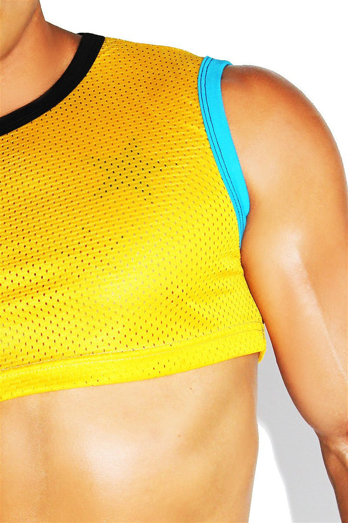 Primary Colors Extreme Mesh Crop Tank- Yellow