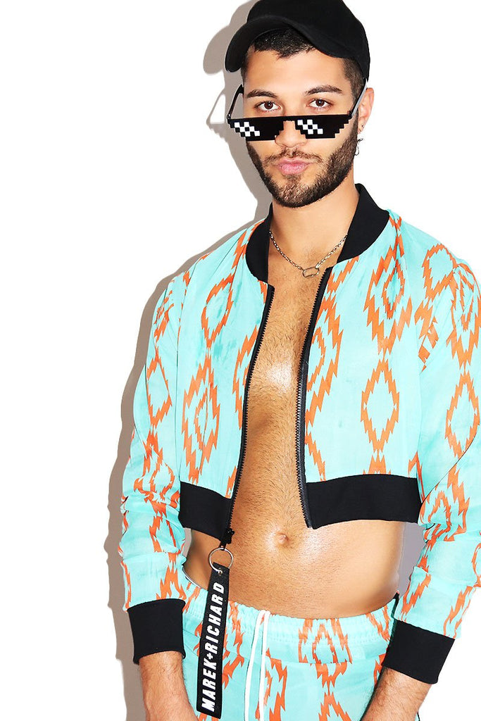 Diamond Back Mesh Crop Bomber Jacket- Turquoise