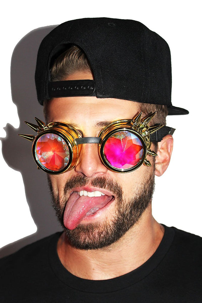 Tripping Balls Spiked Goggles-Gold