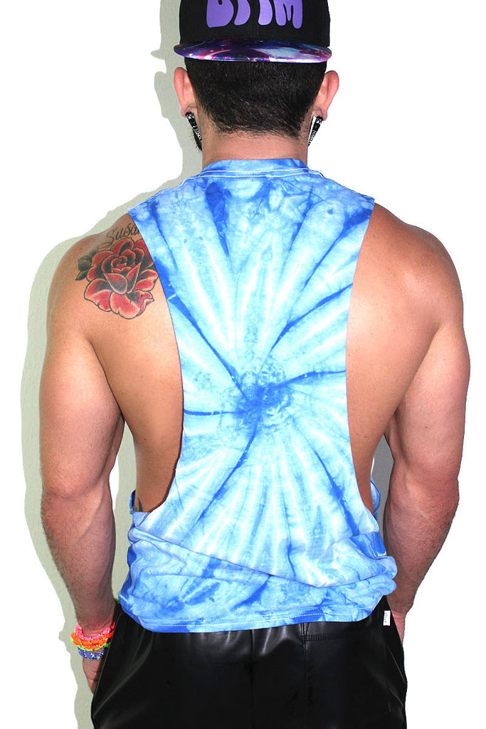 Trippin Balls Tye Dye Low Arm Tank-Blue