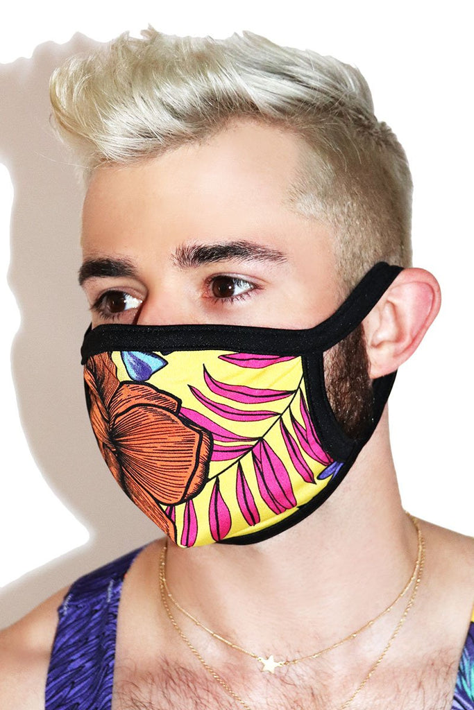 Tropical Face Mask- Black