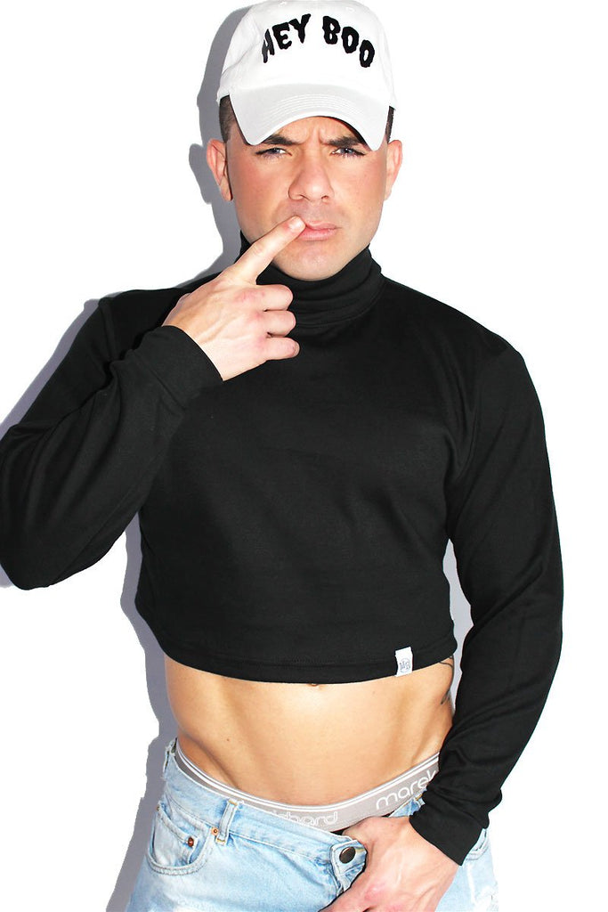 Turtleneck Long Sleeve Crop Tee-Black